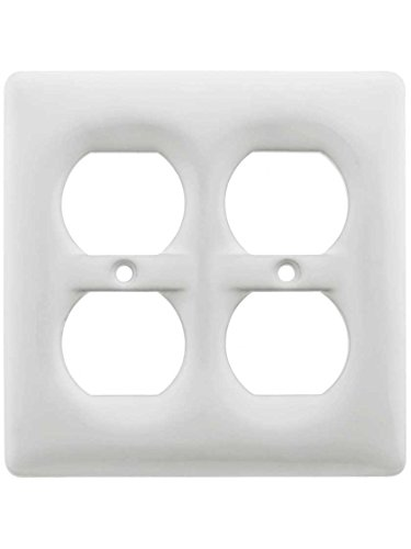White Porcelain Double Duplex Cover Plate - Outlet Ceramic
