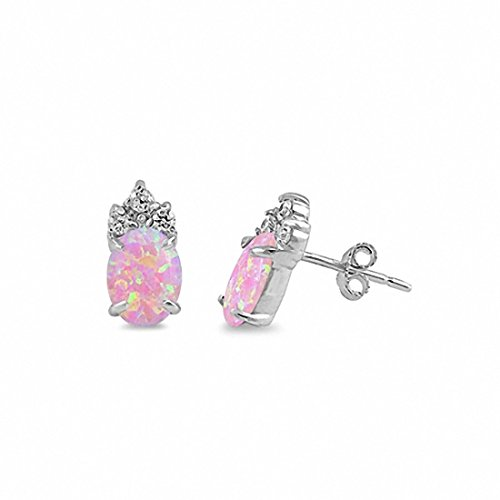 Claw Prong Solitaire Stud Earrings Round Created Pink Lab Opal 925 Sterling Silver - Claw Solitaire Earrings