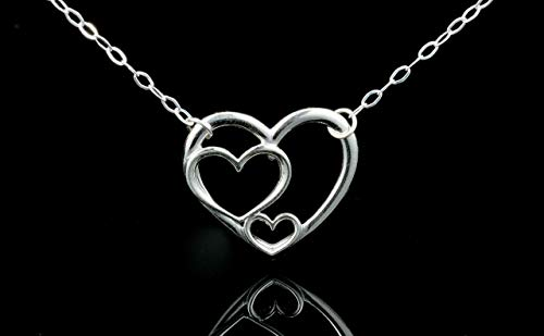 3 Generations Necklace, Heart Necklace, Mother Necklace or Grandma Necklace, 100% Sterling Silver, Three Heart Gift for Her