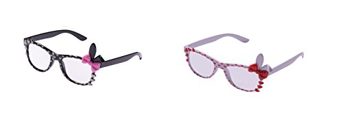 3d Glasses Costume - UltraByEasyPeasyStore 2 Pairs of Cute 3D Multi Color clear lens Bunny Heart Bow Frames for costumes parties Glasses gift nerds & hipsters Blue Pink Black Yellow White (1 Black 1 White Pair)