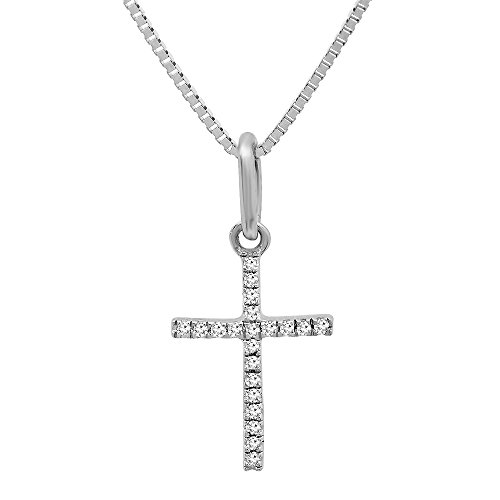 0.06 Carat (ctw) 14K White Gold Round Diamond Ladies Cross Pendant (Silver Chain (0.06 Ct White Diamond)