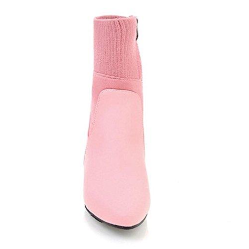 COOLCEPT Women Boots Zipper Pink c2PFD7