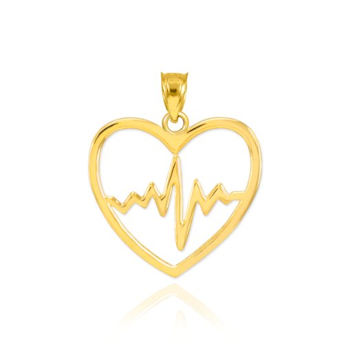 10k Yellow Gold Lifeline Pulse Heartbeat Open Heart Charm ()