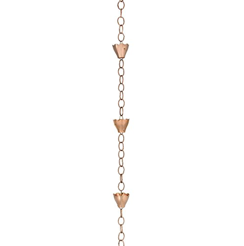 Good Directions 6 Cup Tulip Rain Chain Polished Copper 494P-8