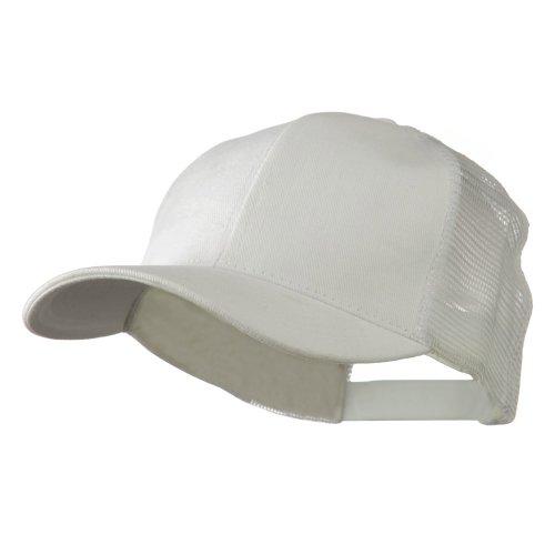 Cotton Brush Mesh Trucker Cap - White (White Brush Cotton Hat)