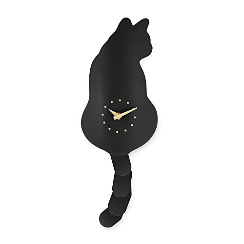 - Elelife Cute Cat Wall Clock Kit with Real Simulation Swinging Tail - Black & White Option (Black)