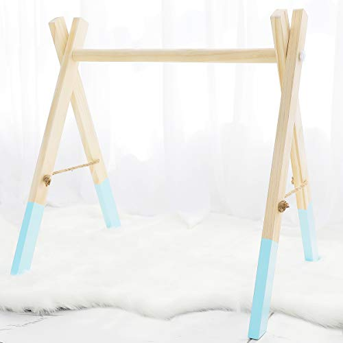 (Wood Baby Gym Wooden Play Gym Foldable Organic Blue Activity Gym Toys Hanging Non-Toxic Newborn Gift)
