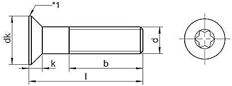 M2x4 x1 Senkschrauben Torx TX Senkkopf Edelstahl A2 DIN 965