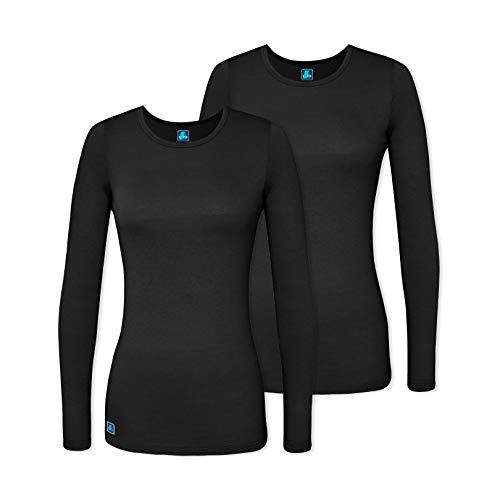 Adar 2 Pack Women's Comfort Long Sleeve T-Shirt/Underscrub Tee - 2902 - BLK - XS