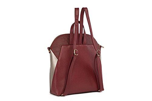 Elizabeth George 768-2 - Bolso mochila  para mujer Rojo Bordeaux Rot - Silber