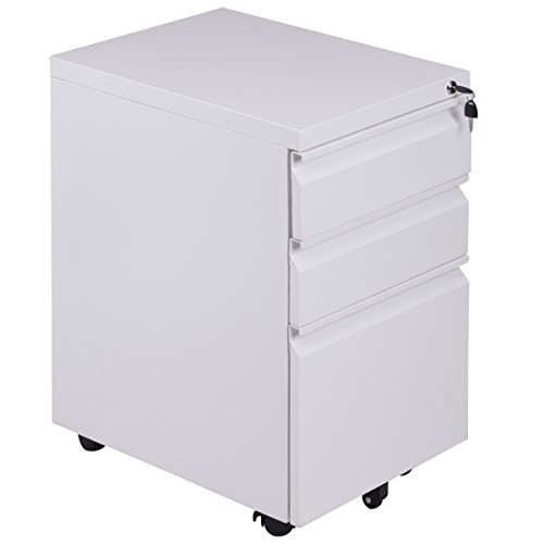 Giantex 3-Drawer Mobile File Cabinet with Lock Key Steel Pedestal Storage for 5 Rolling Casters, A4 Drawers (Drawer Storage Mobile Cabinet)