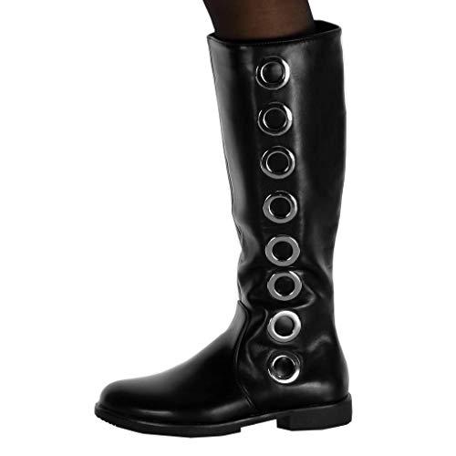 2 in Biker Boot Scarpa 5 nero Cavalier cm Donna Block traforata Fashion Angkorly Tallone metallo qPCnFW