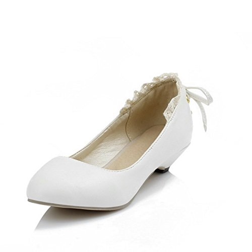 WeenFashion Women's Round Closed Toe Low Heels Soft Material Solid Pull On Pumps-Shoes, White, - Cheap Outlet Prada