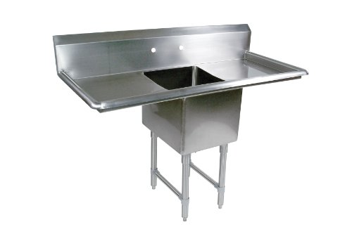 John Boos B Series Stainless Steel Sink, 14'' Deep Bowl, 1 Compartment, 18'' Left and Right Hand Side Drainboard, 57'' Length x 23-1/2'' Width by John Boos