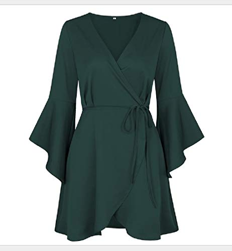 Club Party Coolred Solid Green Neck V Dress Sleeve Women Flare Sexy Waist qrxwrgXB