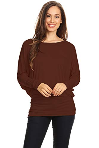 (Casual Solid Dolman Sleeve Long Sleeve Knit Loose Fit Tunic top/Made in USA Brown XL)