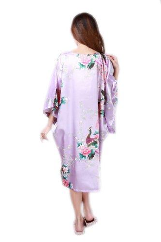 JTC Women's Kimono Robe Silk Dress Pajama Sleepwear 8 Colors (Light Purple)