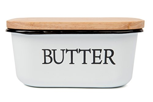 Farmhouse style Enamel Butter Dish / Boat with Wooden lid. Holds 1.5 LBS of butter! Classic Black and White + 10 Free Butter (Hand Painted Butterfly Knob)