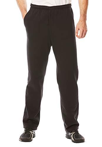 (KingSize Men's Big & Tall Fleece Zip Fly Pants, Black Big-5Xl)