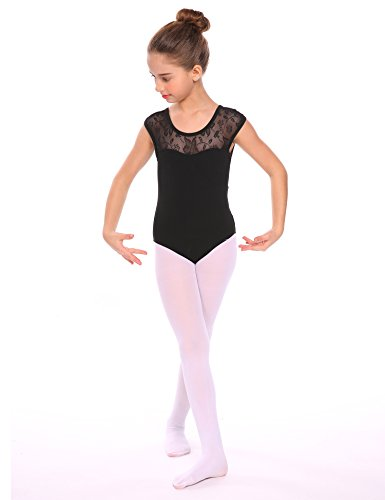 Arshiner Girls' Sleeveless Lace Ballet Leotard, Black 150 -