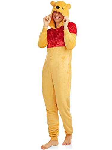 Disney Winnie The Pooh One Piece Union Suit Plush Pajama Costume (X-Large 16/18, Yellow)]()