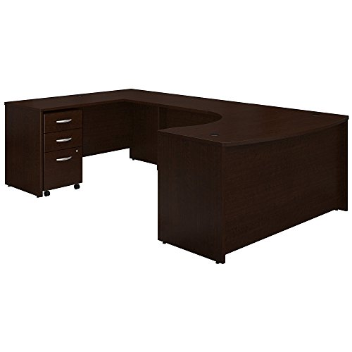 Bush Business Furniture Series C 60W Left Handed Bow Front U Shaped Desk with Mobile File Cabinet in Mocha Cherry by Bush Business Furniture