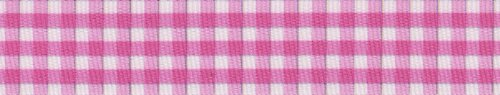 Country Brook Design 7/8 Inch Pink and White Gingham Grosgrain Ribbon, 10 Yards