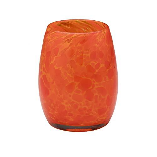 Holder Signed Candle - Votive Candle Holder. Hand Blown Art Glass in Orange.