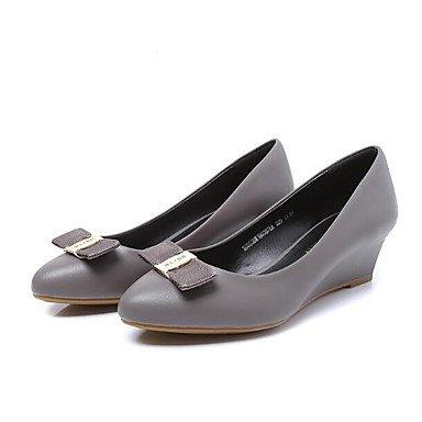 LvYuan Mujer Sandalias Confort PU Primavera Casual Confort Negro Gris Menos de 2'5 cms gray