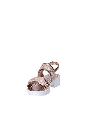Faux en Lelli Fermeture avec Kelly Et Fille Et Et Filles Argent Sandale en Rose Glitter Velcro Bronze Fermeture Cuir Glitter Double gfgFYW1