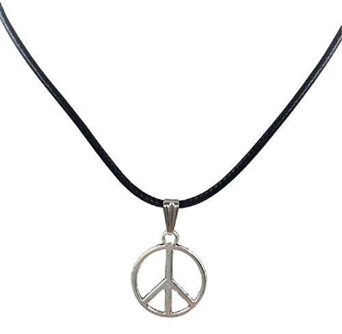 LEERYA New Retro Peace Necklace Pendant Black Leather Cord Choker Charm (A) (Peace Pendant Necklace)