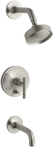KOHLER K-T14421-4-BN Purist Rite-Temp Pressure-Balancing Bath and Shower Faucet Trim, Vibrant Brushed Nickel