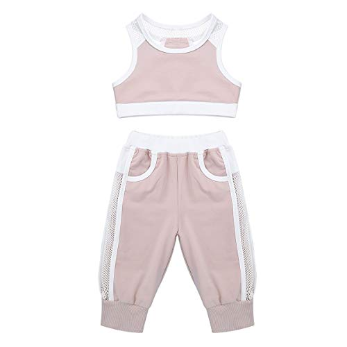 Infant Two Piece Cheerleader Outfit - ranrann Kids Girls Two-Piece Active Sports Tracksuit Fishnet Splice Crop Top Vest with Pants Outfits Dusty Pink 2-3