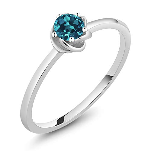 10K White Gold London Blue Topaz Women's Solitaire Engagement Ring (0.20 Ct Round Cut Gemstone Birthstone Available 5,6,7,8,9) (Size 6) ()