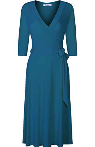 BodiLove Women's 3/4 Sleeve V-Neck Solid Knee Length Wrap Dress Jade M