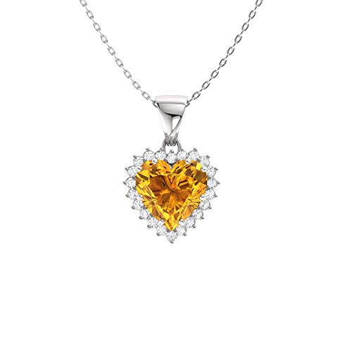 - Diamondere Natural and Certified Heart Cut Citrine and Diamond Halo Necklace in 14k White Gold | 1.67 Carat Pendant with Chain