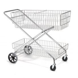 Wire Utility Basket Mail Cart 200 Lb. Capacity, 44''L x 22''W x 35''H by Global Industrial