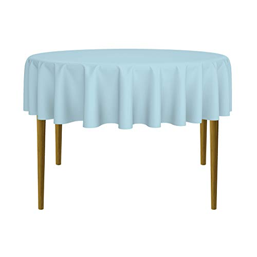 Round Premium Tablecloth for Wedding/Banquet/Restaurant - Polyester Fabric Table Cloth - Baby Blue ()