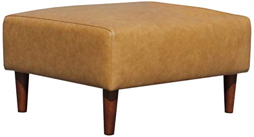 "Rivet Ava Modern Leather Ottoman with Tapered Legs, 25.6""W, Caramel"