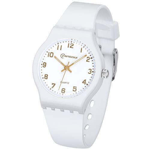 Kids Watch Analog, Teens Child Quartz Waterproof Wristwatch with for Kids Boys Girls,Time Teach Watches Easy to Read Time with Soft Silicone Band,with Gift Box (White)