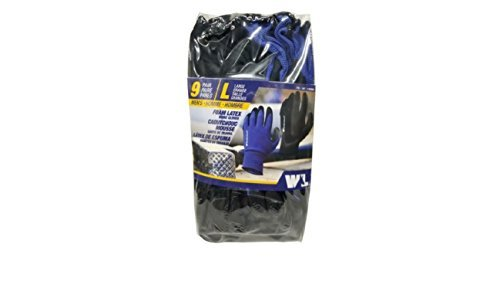 Work Gloves:Foam Latex,size L, 9 Pairs