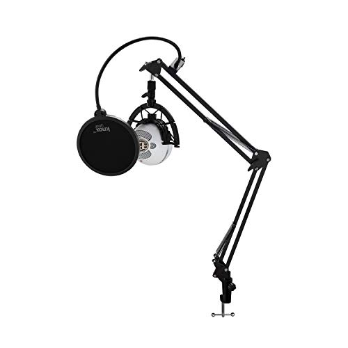 Blue Microphones Snowball iCE Microphone with Knox Gear Boom Arm, Shock Mount and Pop Filter Bundle (Snowball Microphone Shock Mount)