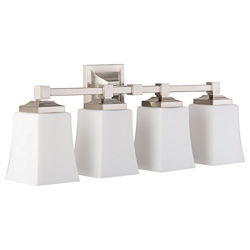 Brighton 4 Light Bathroom Vanity Fixture Brushed Nickel w/Frosted Glass Linea di Liara LL-WL240-4-BN - Silver 4 Light Vanity