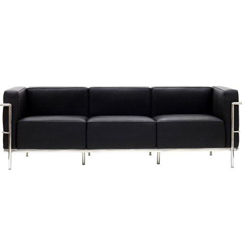 Modern Contemporary Leather Sofa Black