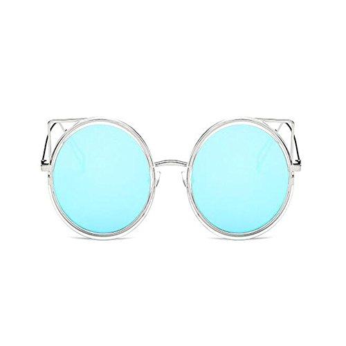 Rétro Mignonne Cadre Protection Oeil Xinvision Soleil Femme Lunettes Bleu Métal Uv400 De Dames Chat Vintage Mode Argenté Mirror 1Eqqz56Bx