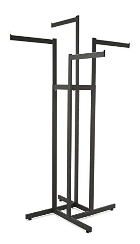 (Clothing Rack – Black 4 Way Rack, Adjustable Height Arms, Blade Arms, Square Tubing, Perfect for Clothing Store Display With 4 Straight Arms)