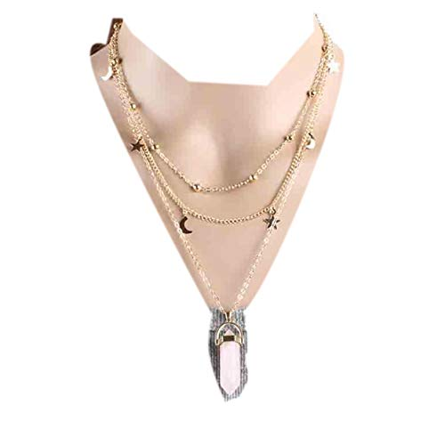 (Zealmer Geometric Quartz Necklace Layered Chain Choker Necklace Pendant Moon Star Rhinestone)