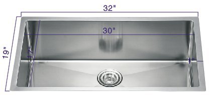 19' Stainless Steel Sink (R321910 32''19''10'' Undermount Single Radius Bowl 18 Gauge Stainless Steel Hand Made Sink)