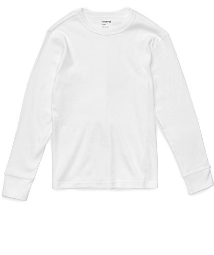 Leveret Long Sleeve Solid T-Shirt 100% Cotton (8 Years, White)