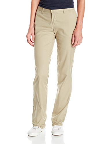Dickies Women's Wrinkle Resistant Flat Front Twill Pant with Stain Release Finish, Desert Sand, 16 Regular